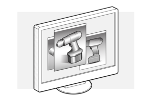 Render images on a monitor as part of product design rendering